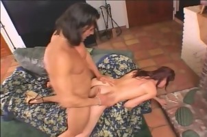 Wet Redhead Is Banged Hard On The Living Room Couch