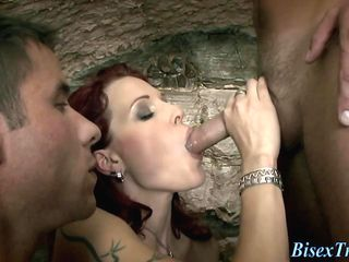 Bisexual babe swallows